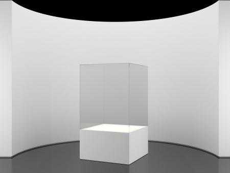 expositor: pared redonda con stand aislado en blanco Foto de archivo