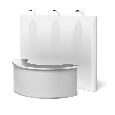 blank trade show booth isolated on a white background photo