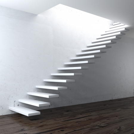 white concrete stair near a wall. 3d render photo
