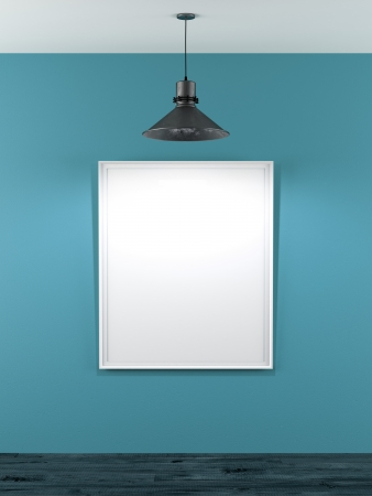 blank frame in room with ceiling lamp . 3d render photo
