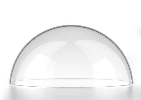 transparent semi-sphere isolated on a white background