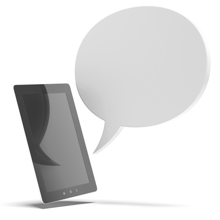 instant message: Tablet pc with bubble speech isolated on a white background