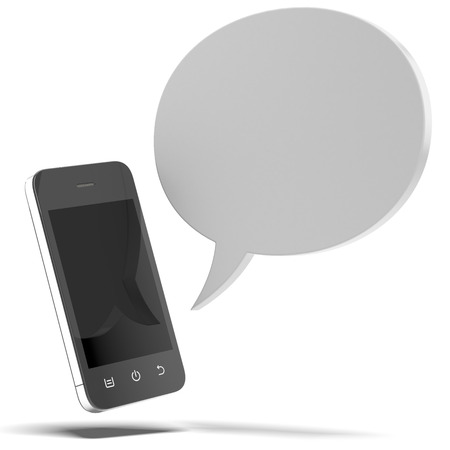 Smartphone  with bubble speech isolated on a white background Stock Photo - 22403767