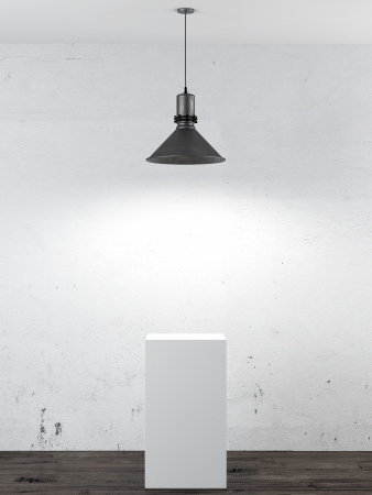 Interieur mit weißen Stand-und Deckenleuchte. 3d render Standard-Bild