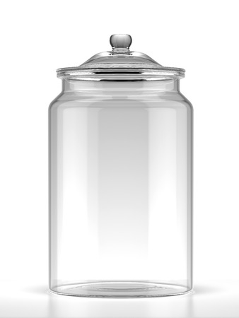 glass containers: Glass jar isolated on a white background