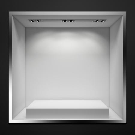 흰색 스탠드 빈 쇼케이스. 3d 렌더링 스톡 콘텐츠