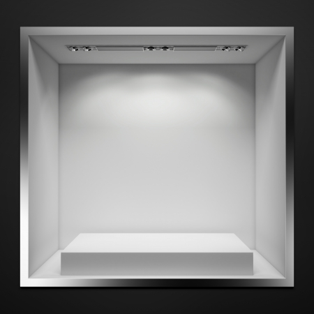 glass window: empty showcase with white stand. 3d render