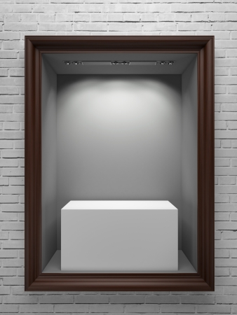 wooden showcase with white stand and frame. 3d render photo