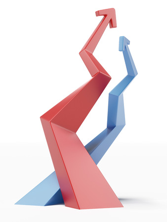 ascendant: Red and blue ascending arrows isolated on a white background