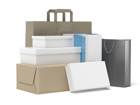 stack of shopping boxes isolated on a white background Stock Photo