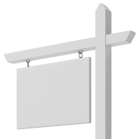outdoor advertising construction: Blank For sale sign close up isolated on a white background