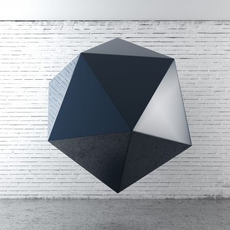 icosahedron: polygon structure in interior. 3d render Stock Photo