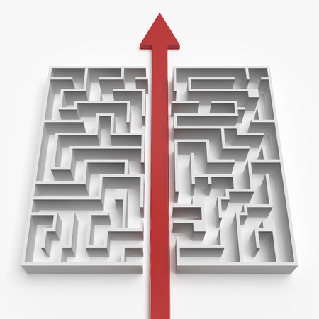 red  straight line through the maze isolated on a white background photo
