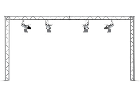 construction with spotlights isolated on a white background