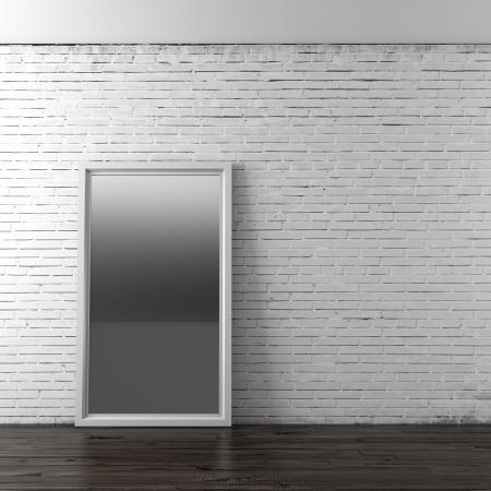 Interior with mirror. 3d render