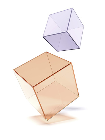 looking through an object: Two glass cubes  isolated on a white background
