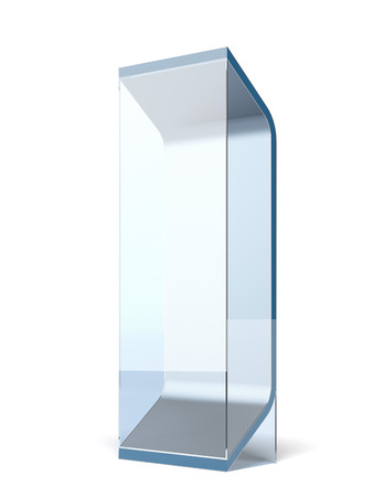 Interactive glass stand isolated on a white background photo