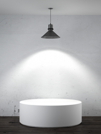 white podium in interior with lamp photo