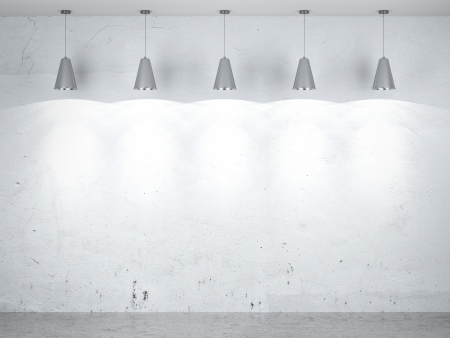 Five lamps in interior. 3d render Stock Photo - 22403855