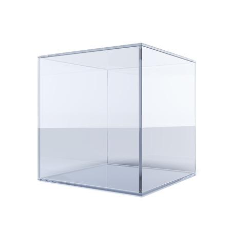 Lege glazen kubus geïsoleerd op een witte achtergrond