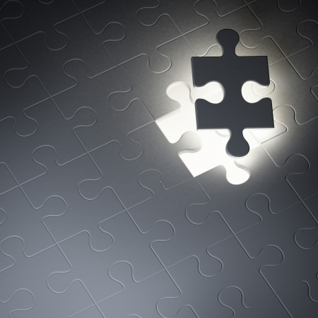 perplexing: Missing jigsaw puzzle piece in the dark