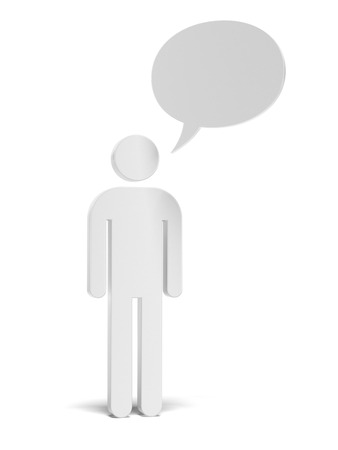Man icon and speech bubble isolated on a white background photo