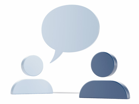 Two Man icons and speech bubble  isolated on a white background photo