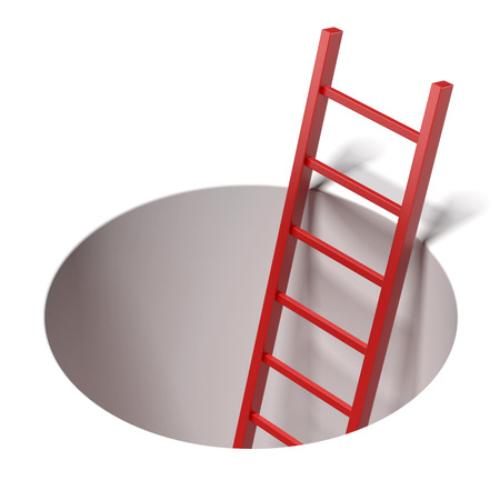 climbing ladder: Ladder standing inside hole  isolated on a white background