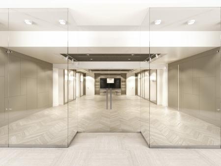 Winkel met glazen ramen en deuren. 3d render