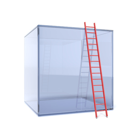 glass cube with red ladder isolated on a white background photo