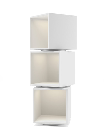 White showcase with three sections isolated on a white background photo
