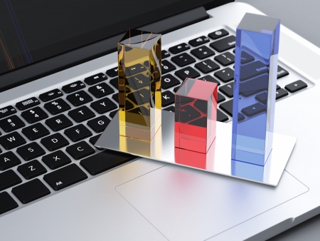 stock graph: Laptop with graph. 3d render Stock Photo