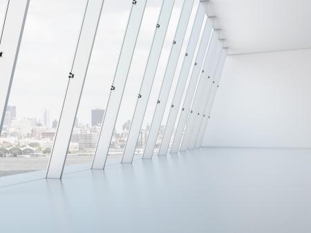 glass ceiling: Long white interior. 3d render Stock Photo