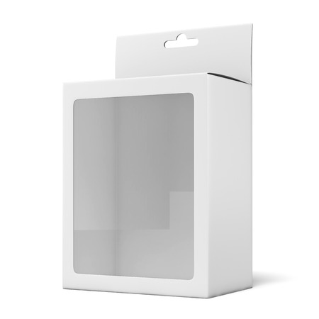 Package with a transparent plastic window isolated on a white background. 3d render photo