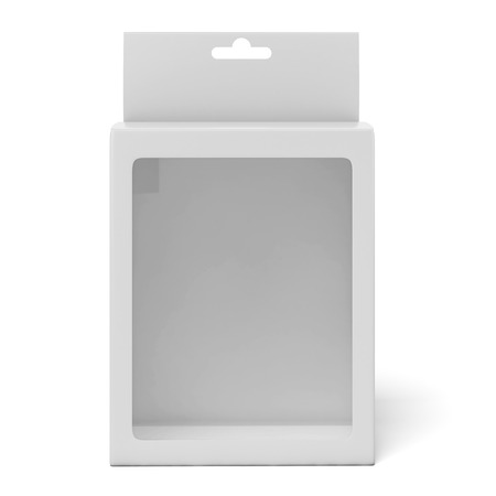 Cardboard box with a transparent plastic window isolated on a white background. 3d render photo