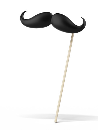 chop stick: Fake mustache isolated on a white background. 3d render Stock Photo