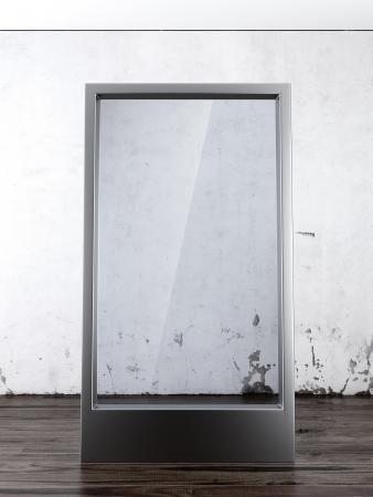 glass panel: Glass Billboard in interior. 3d render Stock Photo