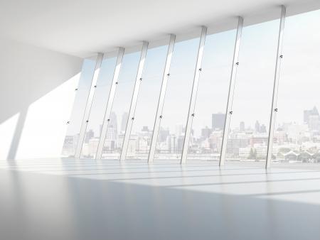 oficina: Hall con ventanas. 3d
