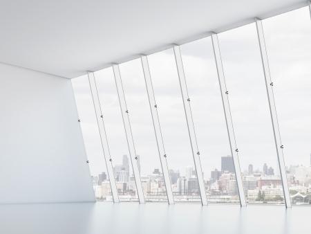 warehouse interior: Interno di ufficio con le finestre. Rendering 3D Archivio Fotografico