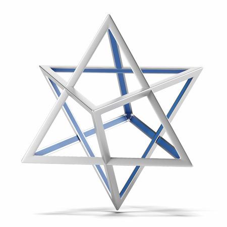 stella di davide: Abstract forma geometrica isolato su uno sfondo bianco. Rendering 3D