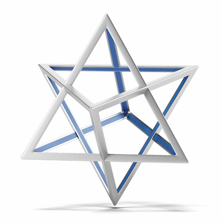 estrella de david: Forma geom�trica abstracta aislado en un fondo blanco. 3d
