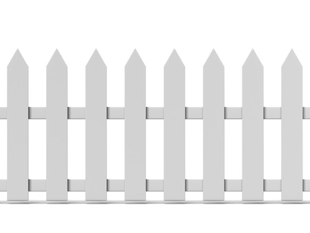 slats: Tiled Wooden fence isolated on a white background. 3d render