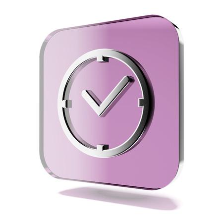 白い背景で隔離の紫時計アイコン。3 d のレンダリング