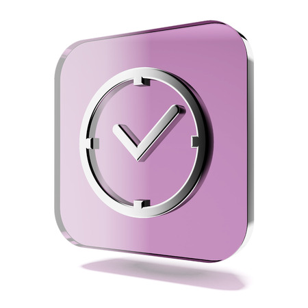 reminder concept: Purple clock icon isolated on a white background. 3d render