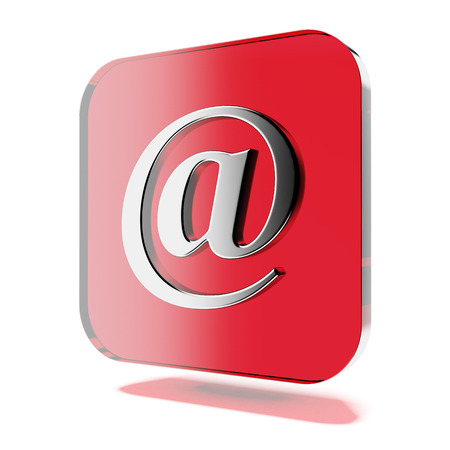 3d contact us: Red mail icon isolated on a white background. 3d render Stock Photo