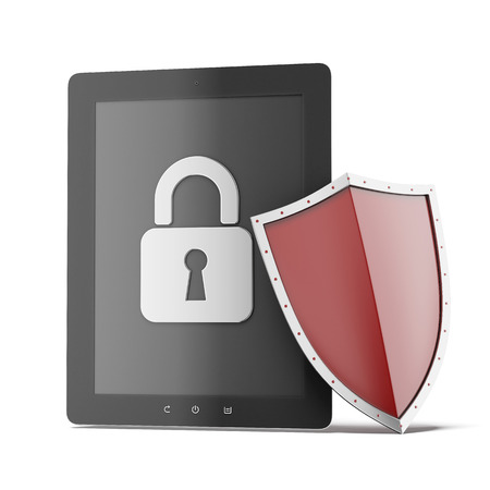encrypted: Tablet security isolated on a white background. 3d render