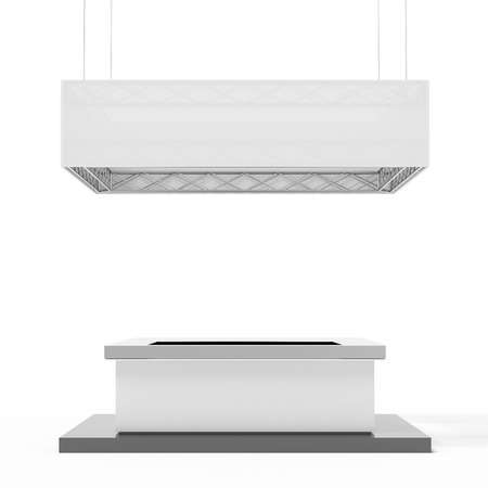 square exhibition stand isolated on a white background. 3d render photo