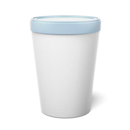 envases plasticos: Blanco Plastic Container hidromasaje Bucket aislado en un fondo blanco. 3d Foto de archivo