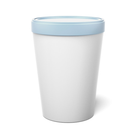 sour cream: White Plastic Tub Bucket Container  isolated on a white background. 3d render