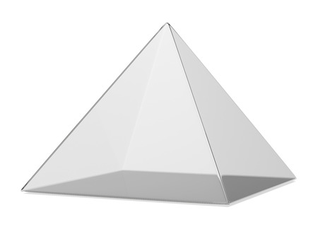 plastic box:  transparent pyramid isolated on a white background. 3d render